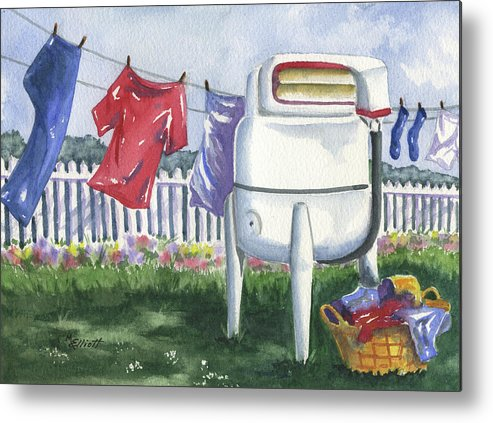 Wash Metal Print featuring the painting Wash Day Blues by Marsha Elliott