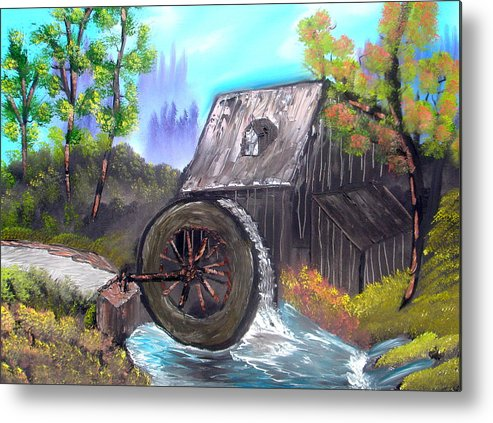Waterwheel Metal Print featuring the painting Waterwheel by Sheldon Morgan