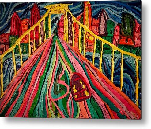 Cityscape Walt Whitman Bridge Metal Print featuring the painting Welcome To Philadelphia by Ira Stark
