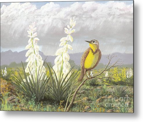 Meadowlark Metal Print featuring the painting Western Meadowlark by Don Lindemann