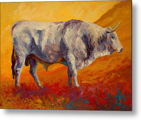 Cows Metal Print featuring the painting White Bull by Marion Rose