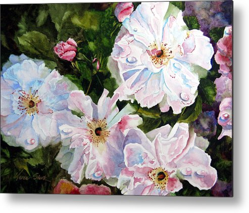 Flowers Metal Print featuring the painting Wild Roses by Karen Stark
