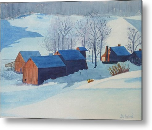 Winter Metal Print featuring the painting Winter Farm by Ally Benbrook