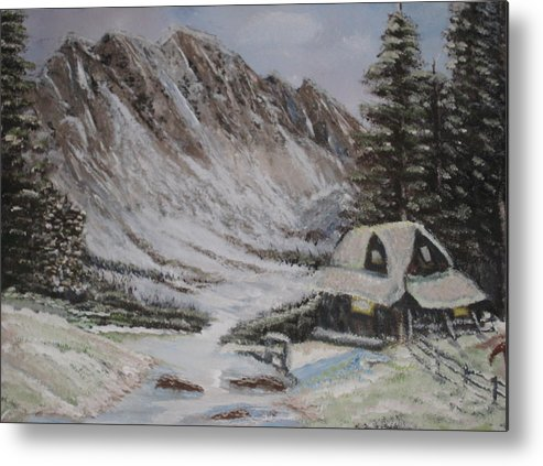Winter Metal Print featuring the painting Winter Retreat by Allison Prior