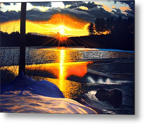 Landscape Metal Print featuring the painting Winter Sparkle by Rick Gallant