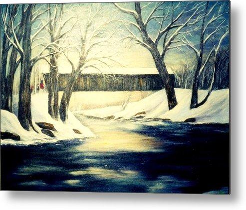 Bridge Metal Print featuring the painting Winter Walk At Bennett's Mill Bridge by Gail Kirtz
