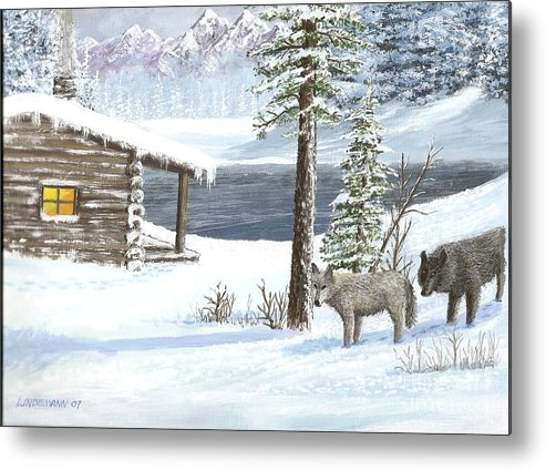 Wolfs Metal Print featuring the painting Wolfs In Winter by Don Lindemann