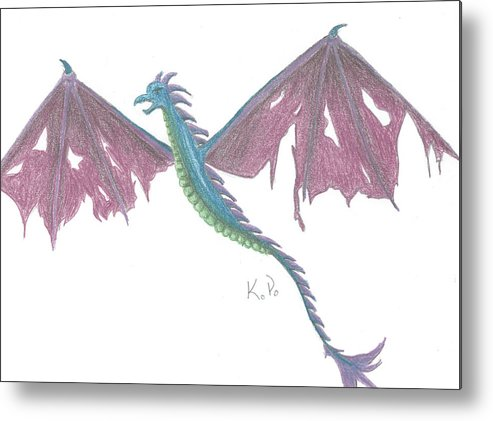 Dragon Metal Print featuring the mixed media Wyrven by Kitty Perkins