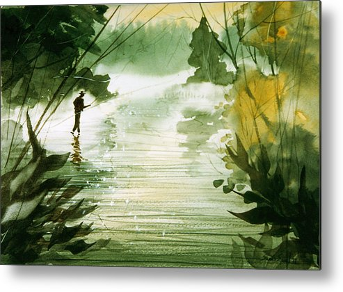 Fisherman Metal Print featuring the painting Yellow Dog River by Sean Seal