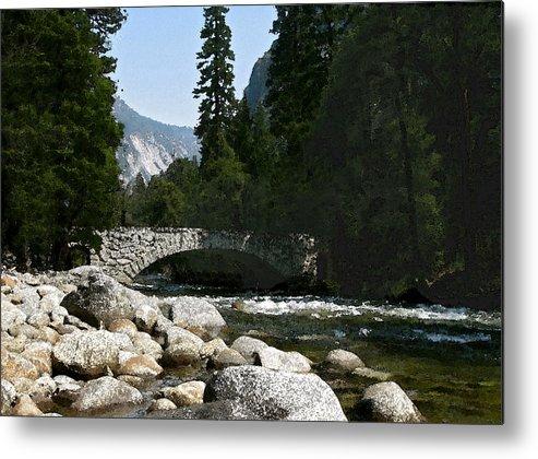 Yosemite Metal Print featuring the photograph Yosemite Bridge Water Color Photograph by Daniel Farina