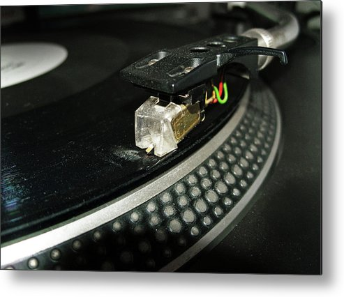 Music Metal Print featuring the photograph Cued Up Record by Richard Newstead