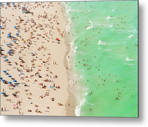 Child Metal Print featuring the photograph People On Beach An In Water, Aerial View by Matthias Clamer