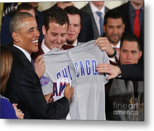 People Metal Print featuring the photograph President Obama Welcomes World Series by Mark Wilson