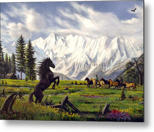 Wild Horse Metal Print featuring the painting The Wild One by Mike Roberts