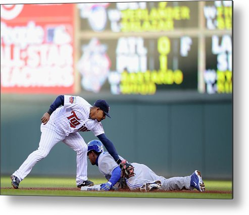 Game Two Metal Print featuring the photograph Anthony Gose And Eduardo Escobar by Hannah Foslien