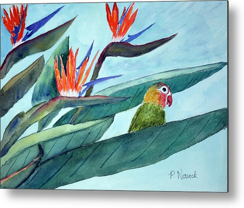 Bird Metal Print featuring the painting Bird In Paradise by Patricia Novack
