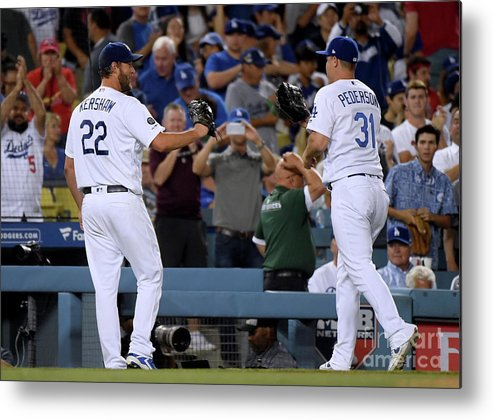 People Metal Print featuring the photograph Clayton Kershaw And Joc Pederson by Harry How