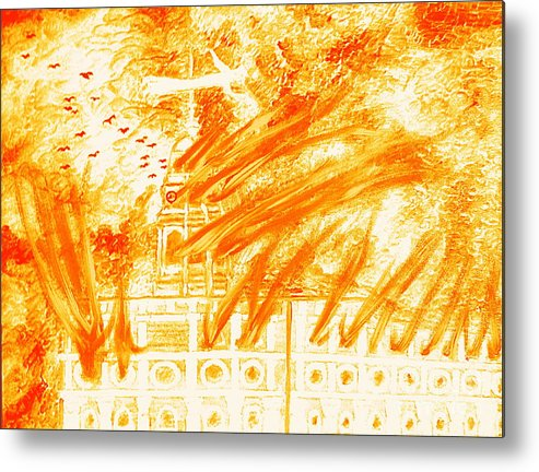 Nauvoo Metal Print featuring the painting Mormon 1848 Nauvoo Temple Burning by Richard W Linford