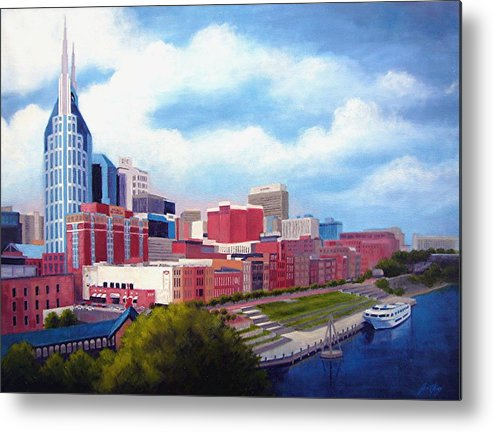 Nashville Metal Print featuring the painting Nashville Skyline by Janet King