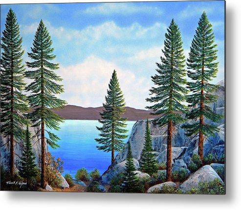Gouache Metal Print featuring the painting Granite Boulders Lake Tahoe by Frank Wilson
