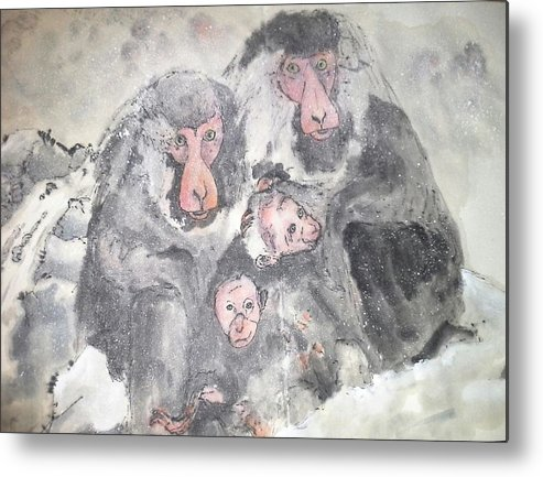 Monkey. Japanese Macque Metal Print featuring the painting Snow Monkey Snow Leopard Album by Debbi Saccomanno Chan