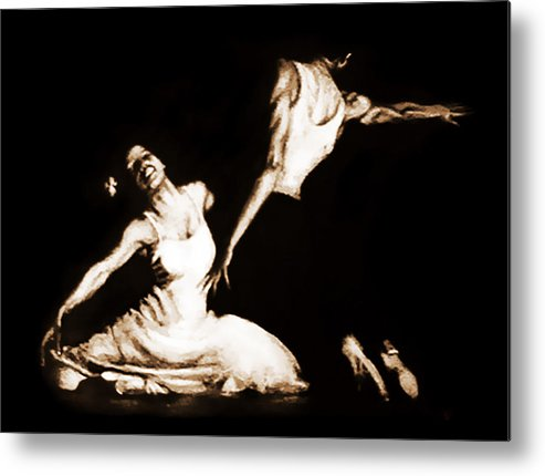 Dance Metal Print featuring the pastel The Dancers-sepia by Alonzo Davis