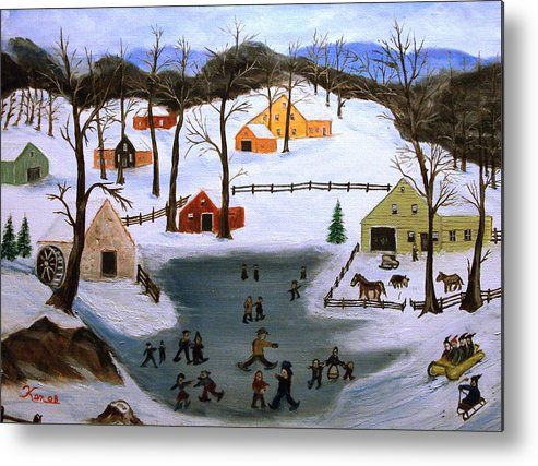 Folk Art Metal Print featuring the painting The Ice Pond by Kenneth LePoidevin