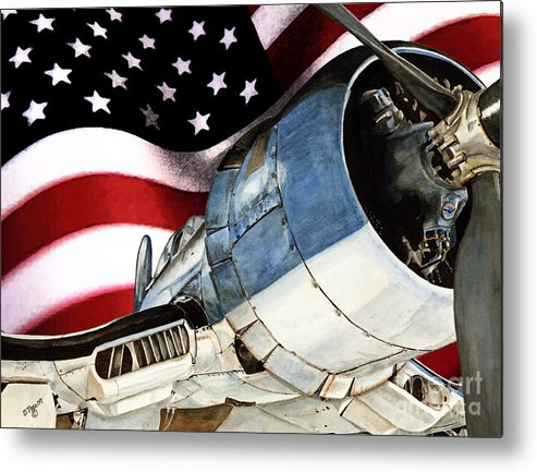 Corsair Metal Print featuring the painting Corsair And Flag by Shari Nees