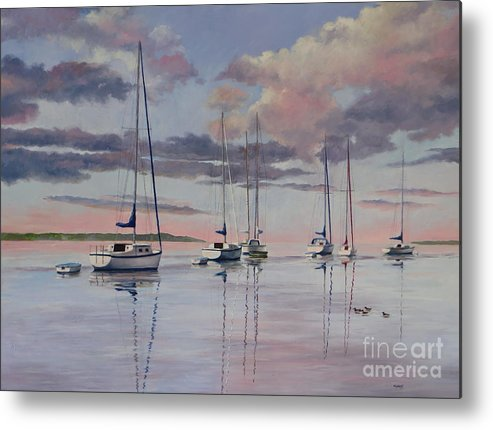 Sailboats Metal Print featuring the painting Cuttyhunk Harbor by Karol Wyckoff