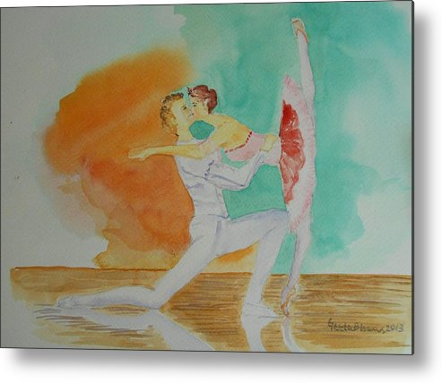 Ballet Metal Print featuring the painting A Kiss In Ballet by Geeta Biswas