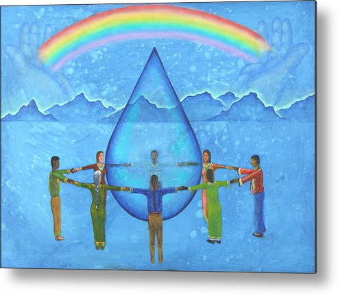 Native American Metal Print featuring the painting A Prayer For Water by Kevin Chasing Wolf Hutchins
