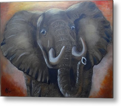African Elephant Metal Print featuring the painting African Elephant by Fineartist Ellen