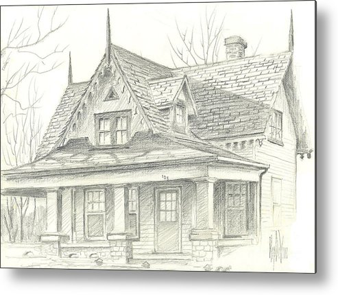 American Home Metal Print featuring the drawing American Home by Kip DeVore