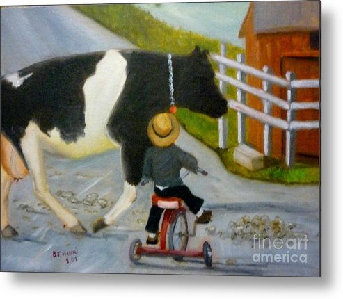 Cow Metal Print featuring the painting Amish Cattle Crossing by Beverly Hanni