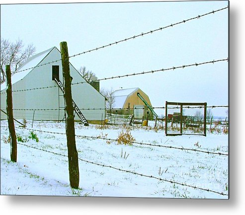 Amish Metal Print featuring the photograph Amish Farm In Winter by Julie Dant