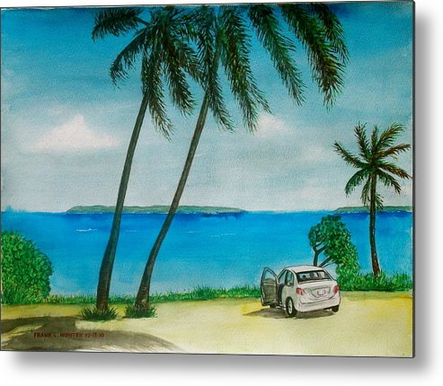 Antigua Caribbean Water Palm Trees Automobile Frank Allaway Automobile Metal Print featuring the painting Antigua by Frank Hunter
