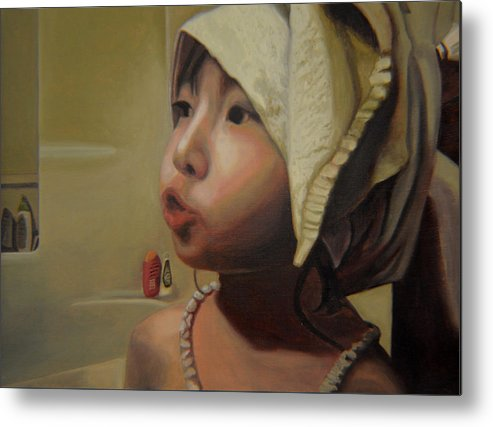 Figure Metal Print featuring the painting Baby Bath Mama by Thu Nguyen