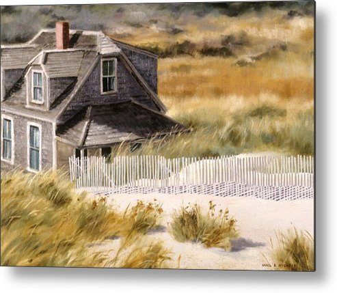 Cottage Metal Print featuring the painting Balston Beach House by Karol Wyckoff