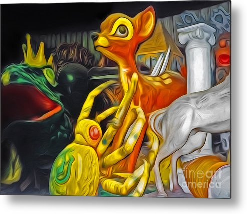 Mardi Gras Word Metal Print featuring the painting Bambi Vs The Spider by Gregory Dyer