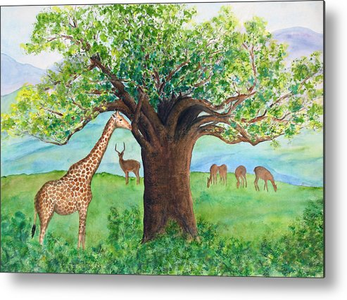 Baobab Tree Metal Print featuring the painting Baobab And Giraffe by Patricia Beebe