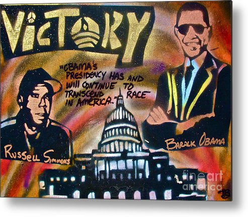 Barack Obama Metal Print featuring the painting Barack And Russell Simmons by Tony B Conscious