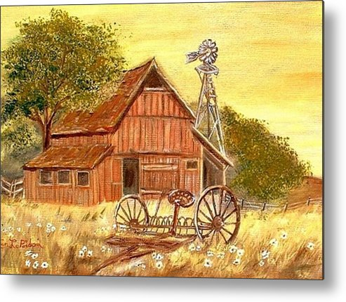 Barn Old Rake Windmill Metal Print featuring the painting Barn - Windmill - Old Rake by Kenneth LePoidevin