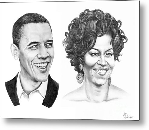 Portrait Metal Print featuring the drawing Barrack And Michelle Obama by Murphy Elliott