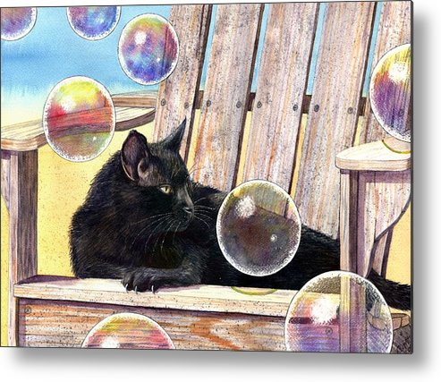 Cat Metal Print featuring the painting Basking In Bubbles by Catherine G McElroy