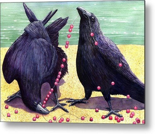 Raven Metal Print featuring the painting Baubles by Catherine G McElroy
