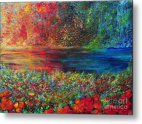 Abstract Metal Print featuring the painting Beautiful Day by Teresa Wegrzyn