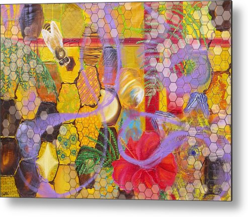 Bee Metal Print featuring the painting Beehive by Anne Cameron Cutri