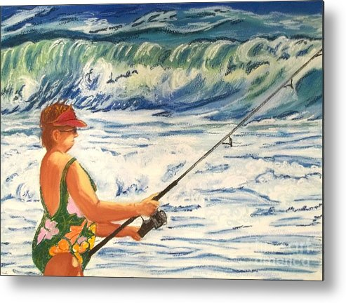 Figure Metal Print featuring the painting Big Momma Fishin' by Frank Giordano