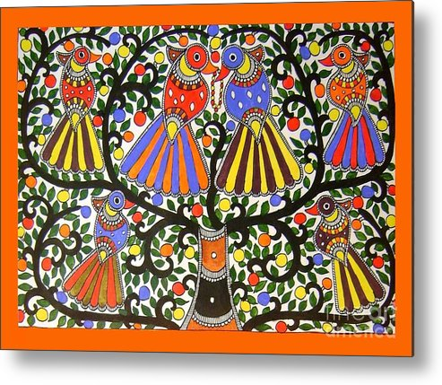 Madhubani Painting Metal Print featuring the painting Birds-madhubani Painting by Neeraj kumar Jha