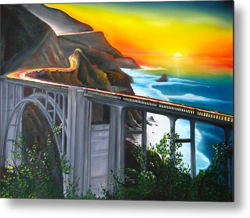 Beautiful California Sunset! Metal Print featuring the painting Bixby Coastal Bridge Of California At Sunset by Portland Art Creations